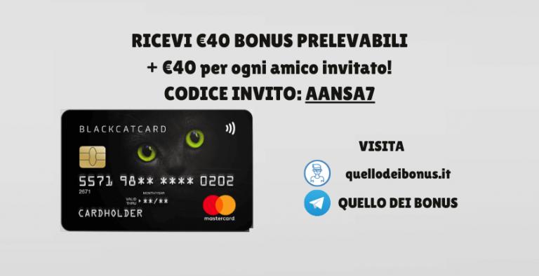 blackcatcard codice bonus 40 euro
